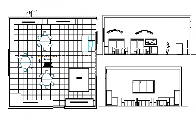 City school canteen architecture layout plan details dwg file