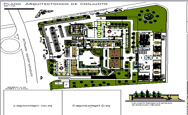 City shopping mall landscaping details with structure dwg file