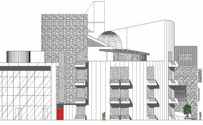 Civic Center Architecture Design and Elevation dwg file