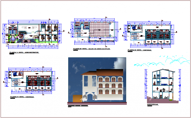 Civic center government building floor plan,elevation & section view dwg file