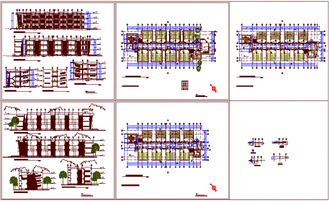 Class room design of school with plan and elevation view dwg file