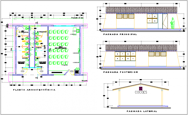 Class room design of school with sanitary ware view and elevation view dwg file