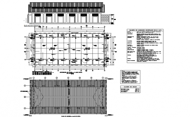 Class room plan and elevation detail dwg file