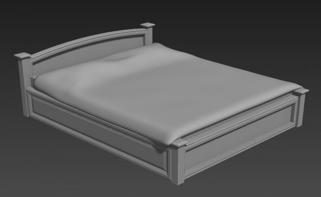 Classic Double Bed Furniture Blocks 3ds Max File