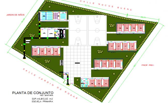 Classroom module layout plan dwg file