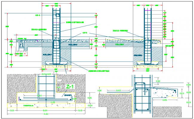 Classrooms of schools constructive details dwg file