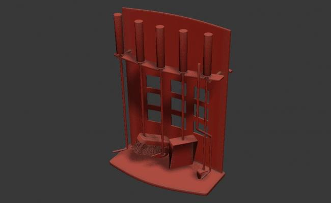 Cleaning Tool M.S Stand  With Basic Rendered 3D MAX File Free