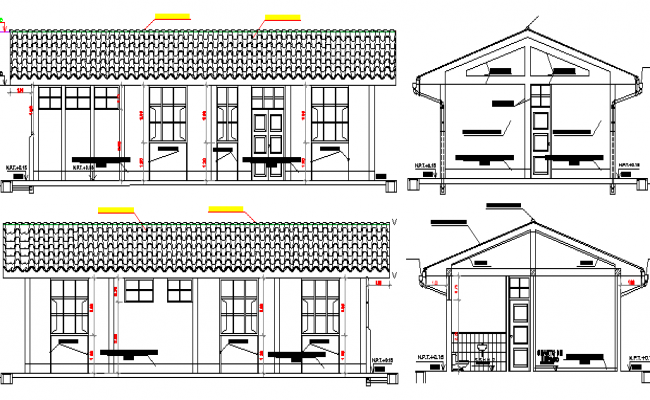 Clinic Elevation and Section Plan dwg file
