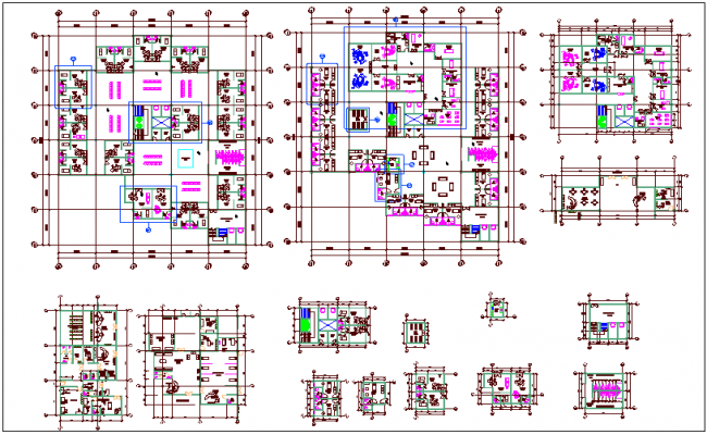 Clinic floor plan view with portion view of clinic dwg file