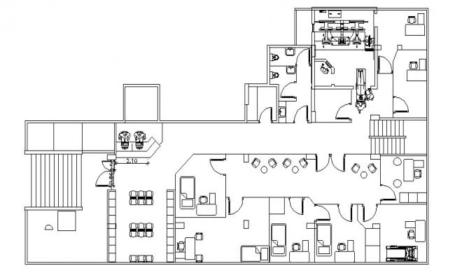 Clinic plan with detail dimension in dwg file