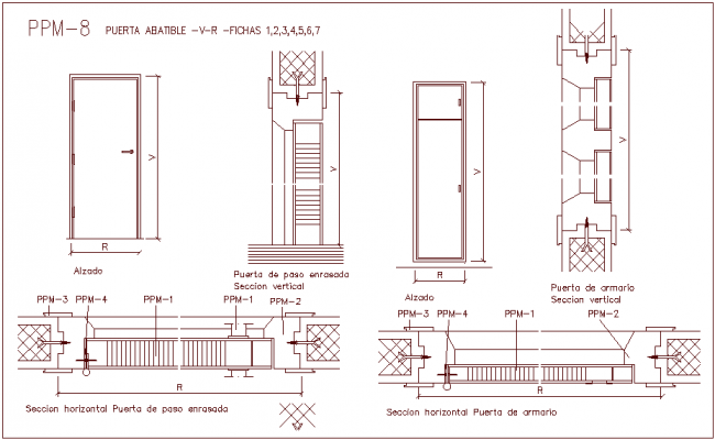 Closet Door Design View With Sectional Dwg File