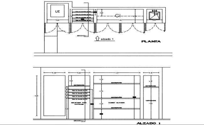 Closet inter locked plan and elevation detail dwg file