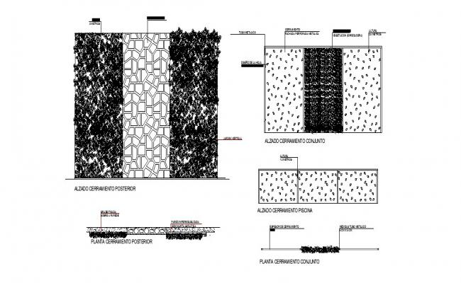Closure in perforated metal facade and vertical garden automation details dwg file