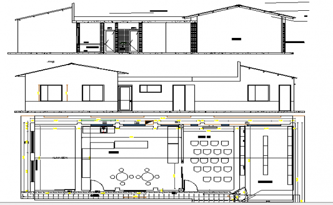 Club House Elevation, Structure and Section Plan dwg file