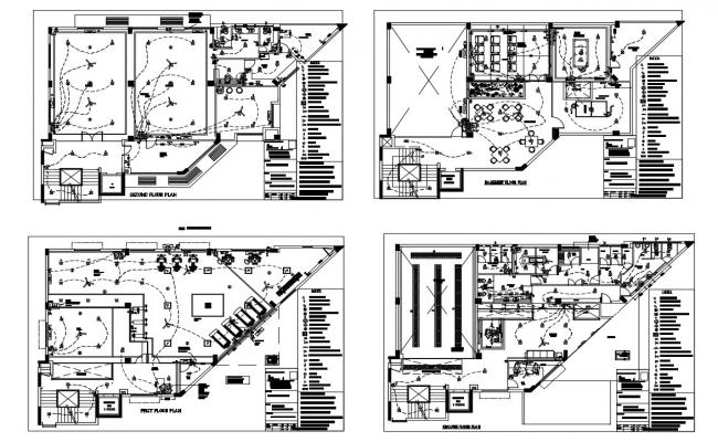 Club house all floors electrical layout plan cad drawing details dwg file