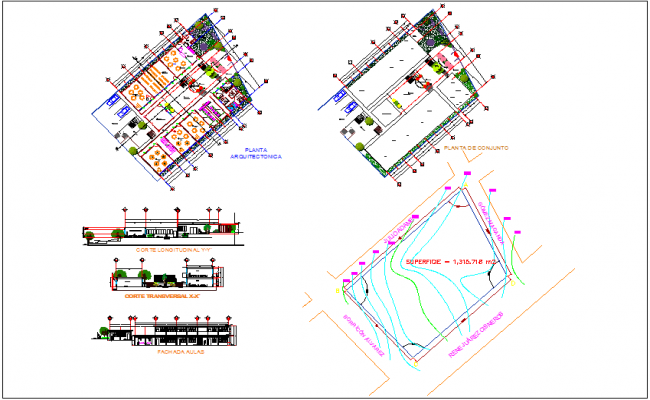 Club house design with garden, landscape view & map view dwg file