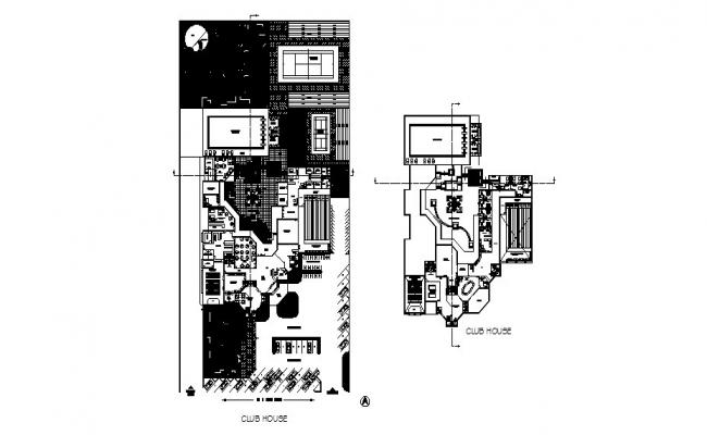 Club house distribution plan and floor plan cad drawing details dwg file