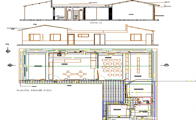 Club house elevation, section and layout plan details dwg file