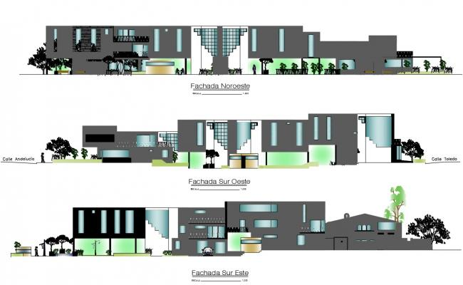 Clubhouse Elevation Design DWG File