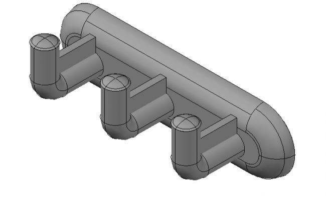 Coat hooks side elevation 3d