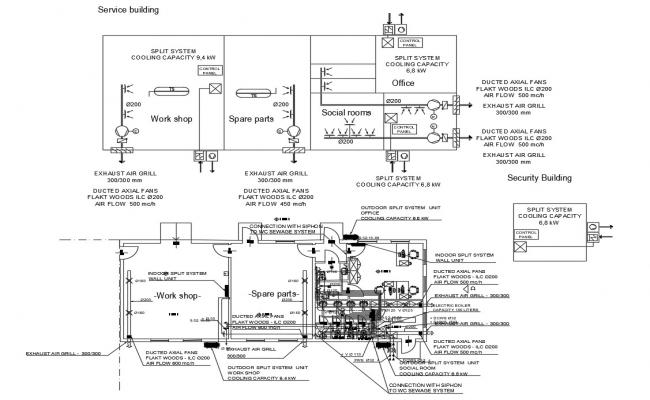 Coffee Factory Service Building Plan