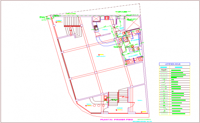 Cold water line view with legend for commercial building first floor plan dwg file