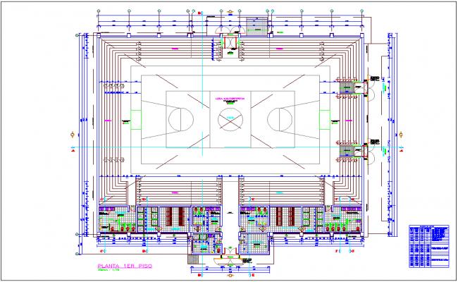 Coliseum area plan with sport center dwg file