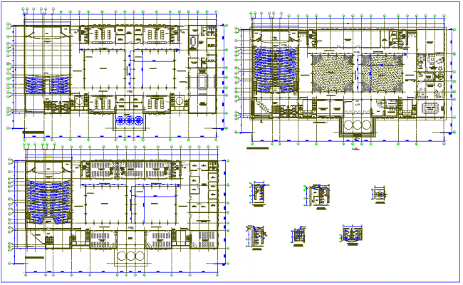 Collage building plan design view with drainage system detail dwg file