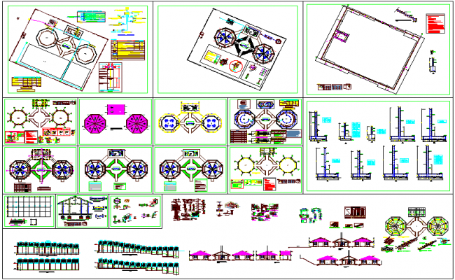 Collage design view with plan view,structural and door and window detail dwg file