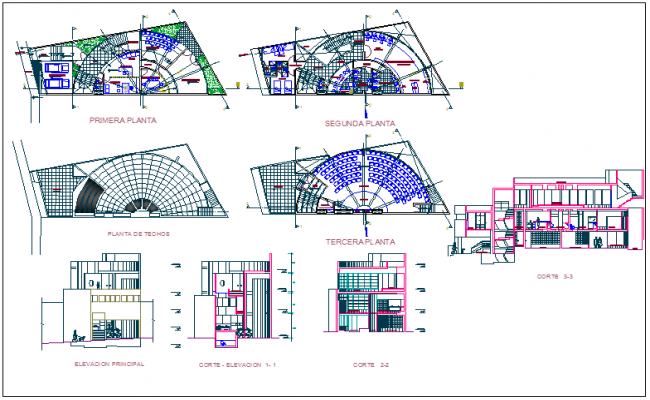 Collage floor plan,elevation and section view dwg file