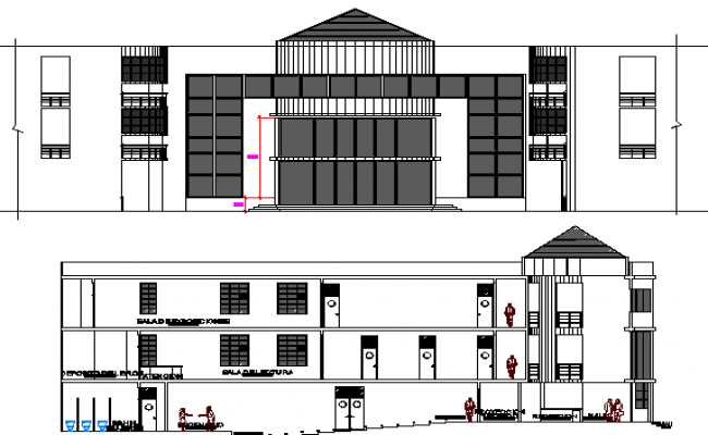 College Architecture Design and Elevation dwg file