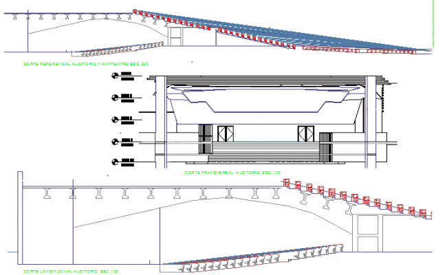 College auditorium elevation and roof details dwg file