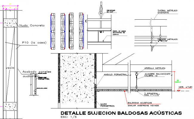 College auditorium hall constructive details dwg file