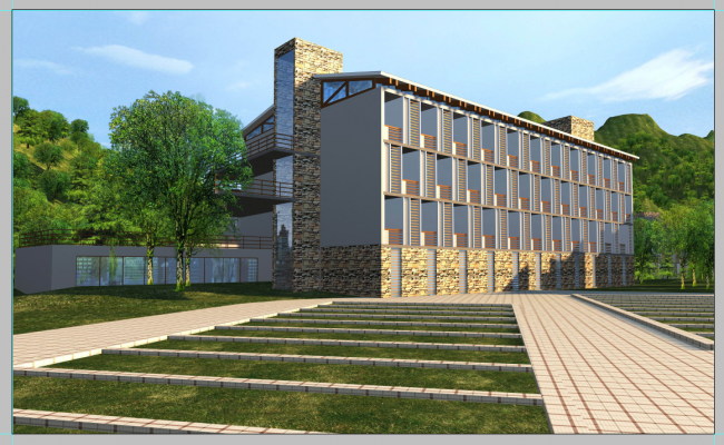 College building structure detail elevation 3d model layout PSD file