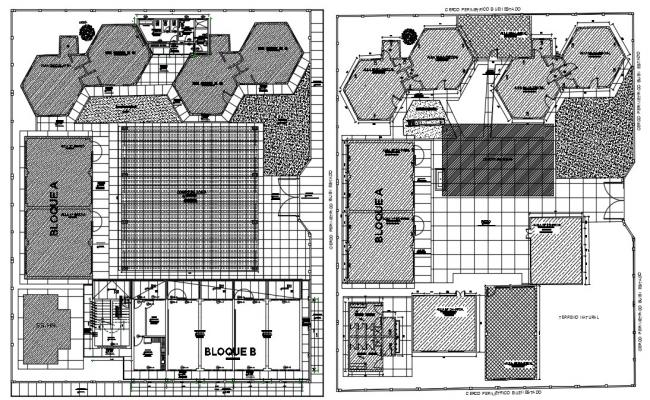 College campus design in dwg file