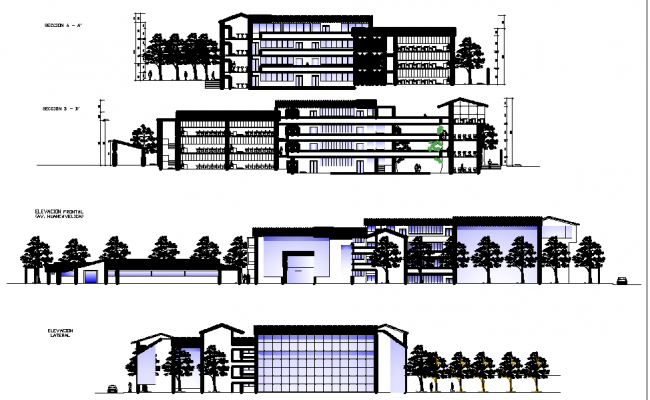 College elevation and section detail dwg file