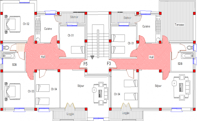 College hostel with column detail dwg file