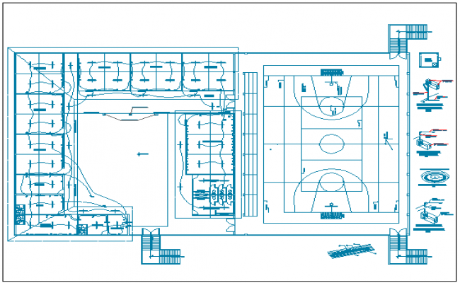 College layout with sports ground electric installation dwg file