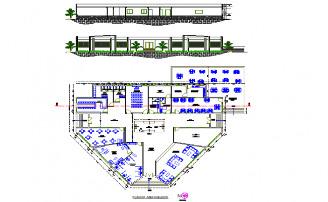 College plan and elevation detail dwg file