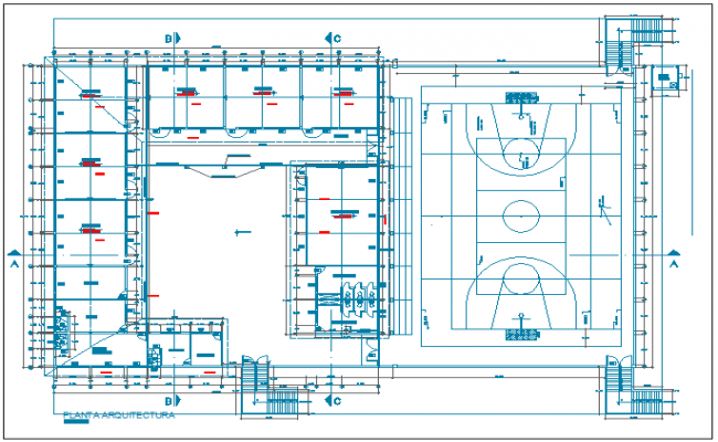 College sports ground and layout plan details with sanitarian dwg file