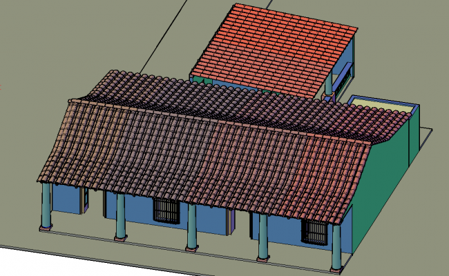 Colonial house 3 d plan detail dwg file
