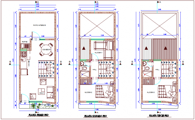 Columbia's first to third floor plan of housing development project dwg file