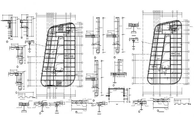 Column And Beam design Of Commercial Building AutoCAD File
