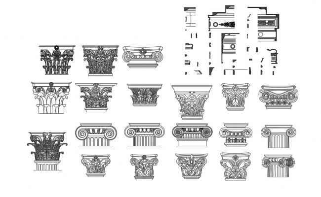 Column Capital Design CAD Blocks Free Download