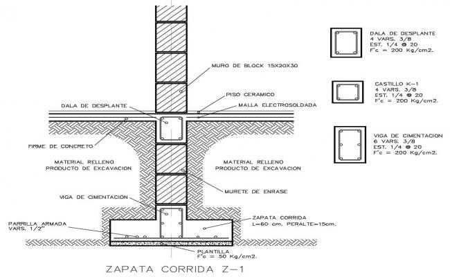 Column Footing Design CAD File