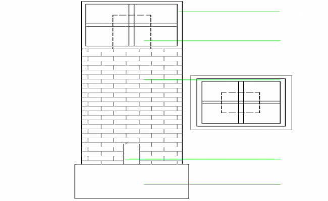 Column Top plan & Brick Section Detail