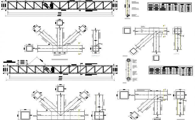 Column and beam construction details of armor details dwg file
