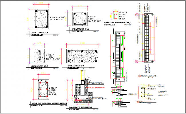 Column and beam detailing with dwg file