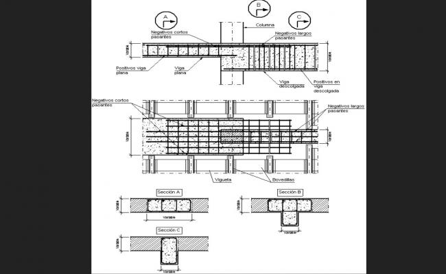 Column and beam section and constructive structure details dwg file