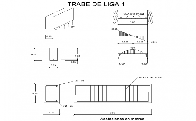 Column and beam section detail dwg file